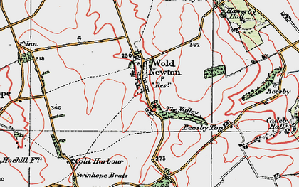 Old map of Wold Newton in 1923