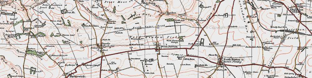 Old map of Wold Cottage, The in 1924