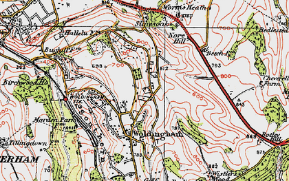 Old map of Woldingham in 1920