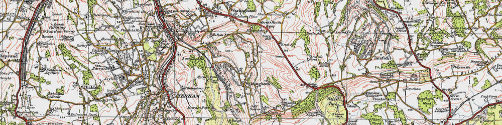 Old map of Worms Heath in 1920