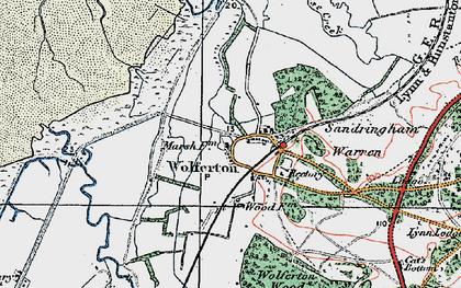 Old map of Wolferton in 1922