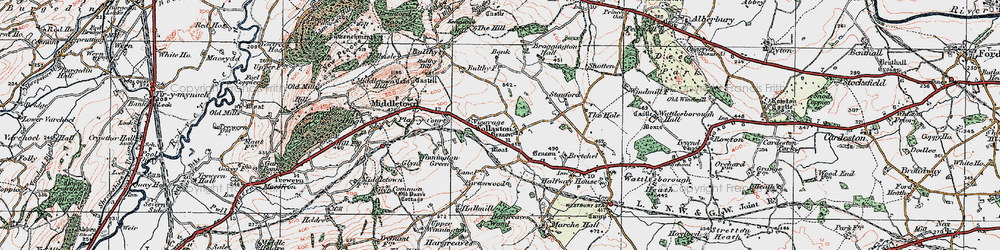 Old map of Wollaston in 1921