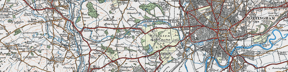 Old map of Wollaton in 1921