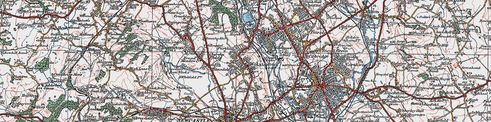 Old map of Wolstanton in 1921