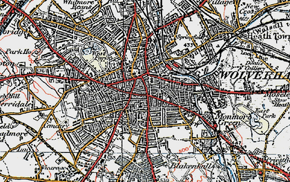 Old map of Wolverhampton in 1921