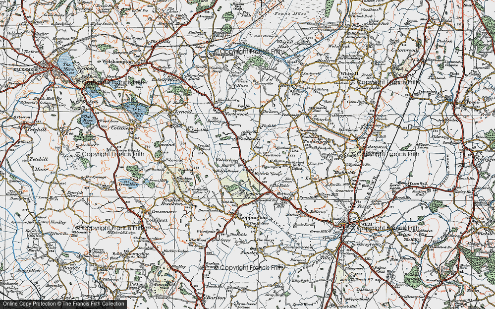 Old Map of Historic Map covering Woodlands, The in 1921