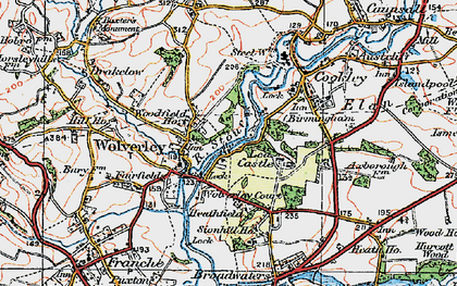 Old map of Wolverley in 1921