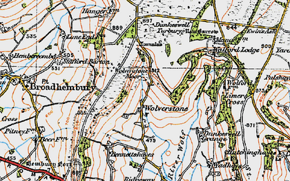 Old map of Limers Cross in 1919
