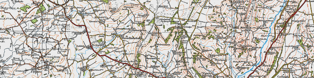 Old map of Wolford Lodge in 1919