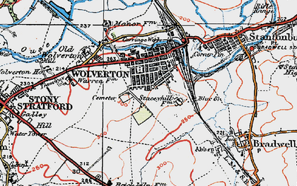Old map of Wolverton in 1919