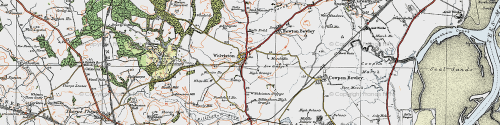 Old map of Wolviston in 1925