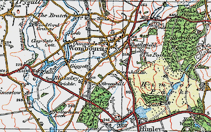 Old map of Wombourne in 1921
