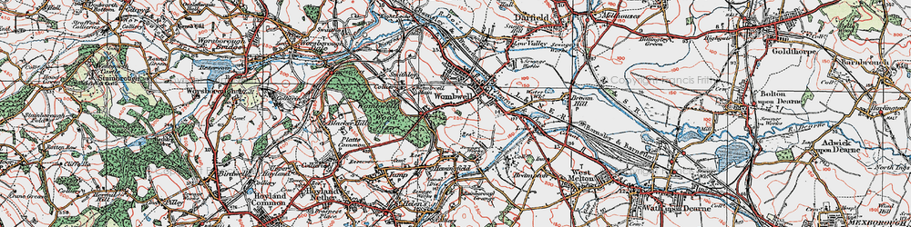 Old map of Wombwell in 1924