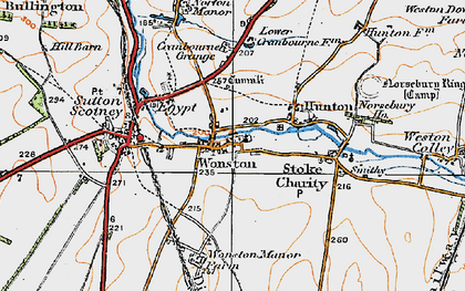 Old map of Wonston in 1919
