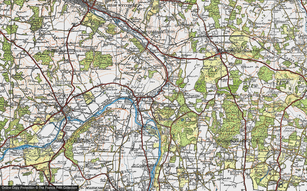 Old Map of Wooburn, 1919 in 1919