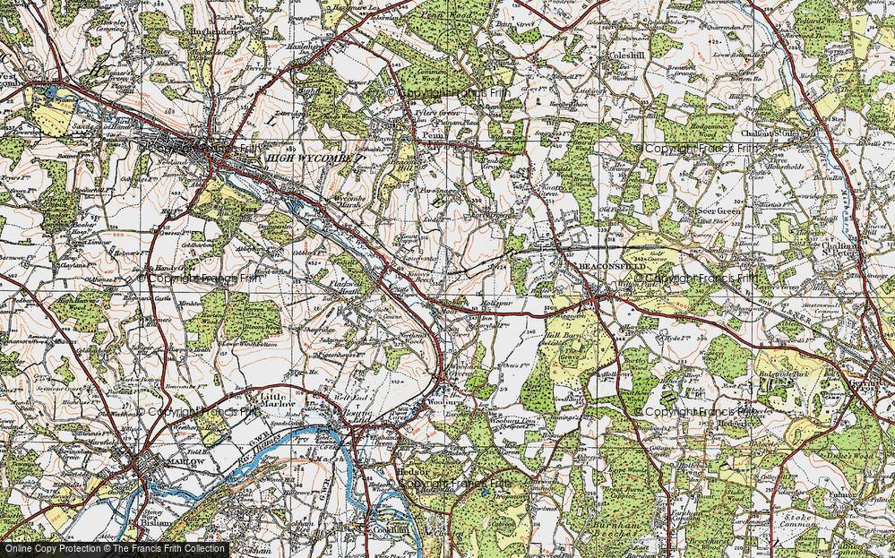 Old Map of Wooburn Moor, 1920 in 1920