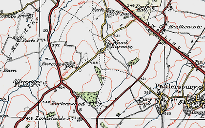 Old map of Wood Burcote in 1919