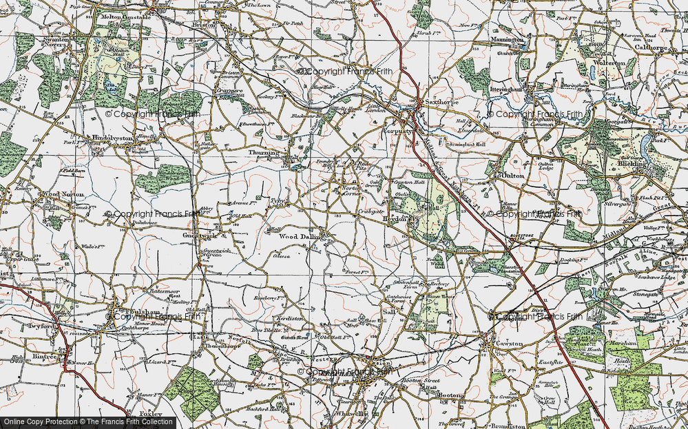 Old Map of Wood Dalling, 1921 in 1921