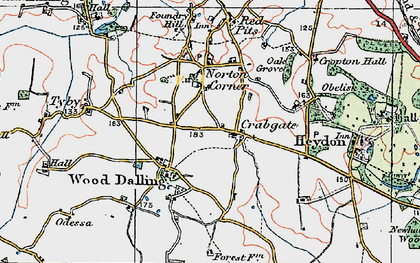 Old map of Wood Dalling in 1921