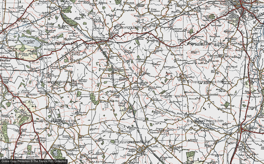 Old Map of Wood Eaton, 1921 in 1921