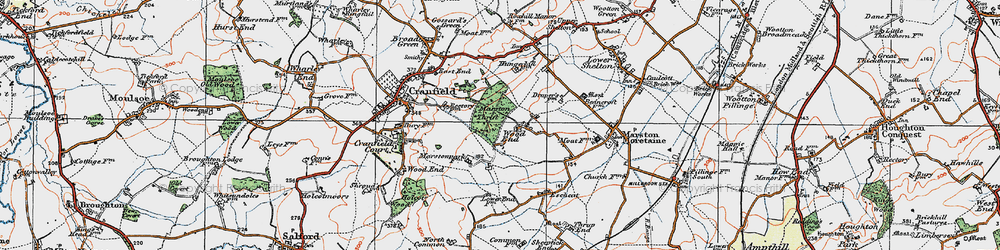 Old map of Wood End in 1919
