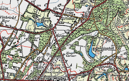 Old map of Ascot Heath in 1920