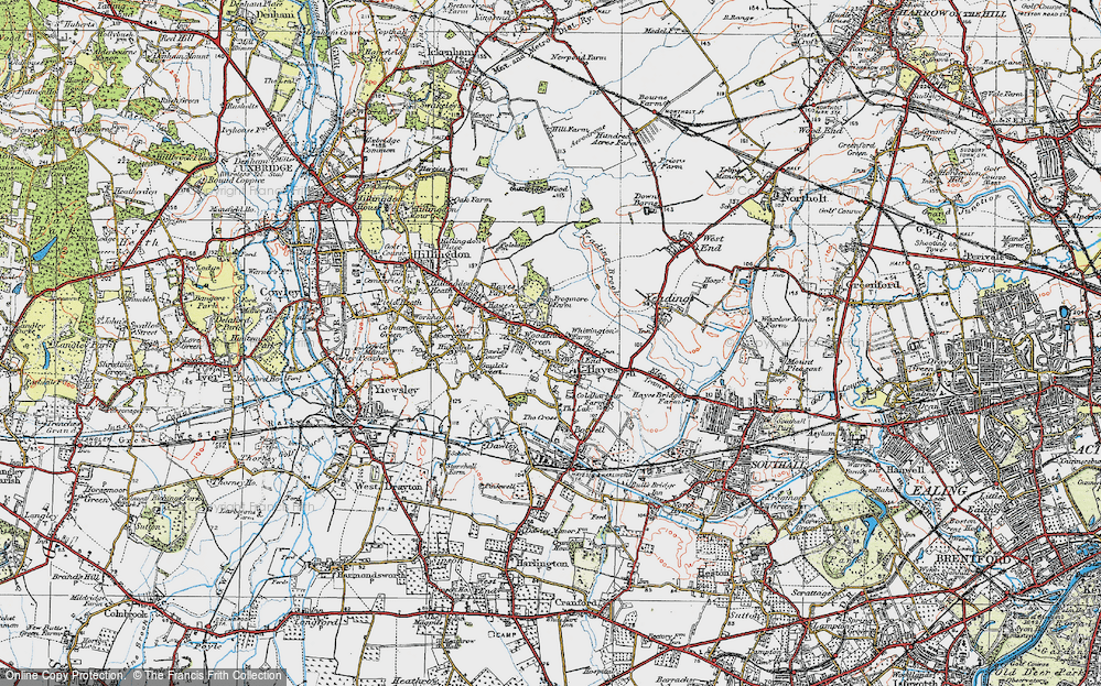 Old Map of Historic Map covering Wood End in 1920
