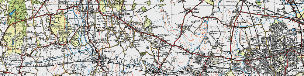 Old map of Wood End Green in 1920