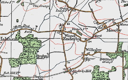 Old map of Wood Enderby in 1923