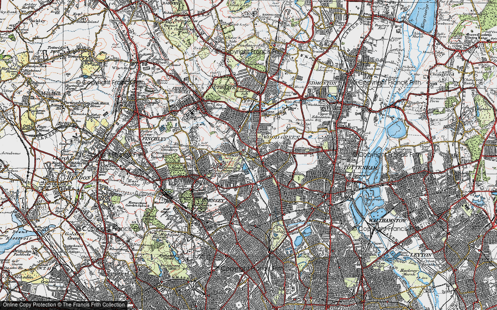 Old Map of Wood Green, 1920 in 1920