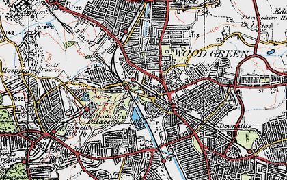 Old map of Wood Green in 1920