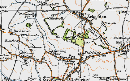 Old map of Wood Hall in 1919