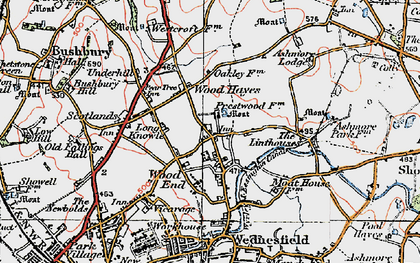 Old map of Wood Hayes in 1921
