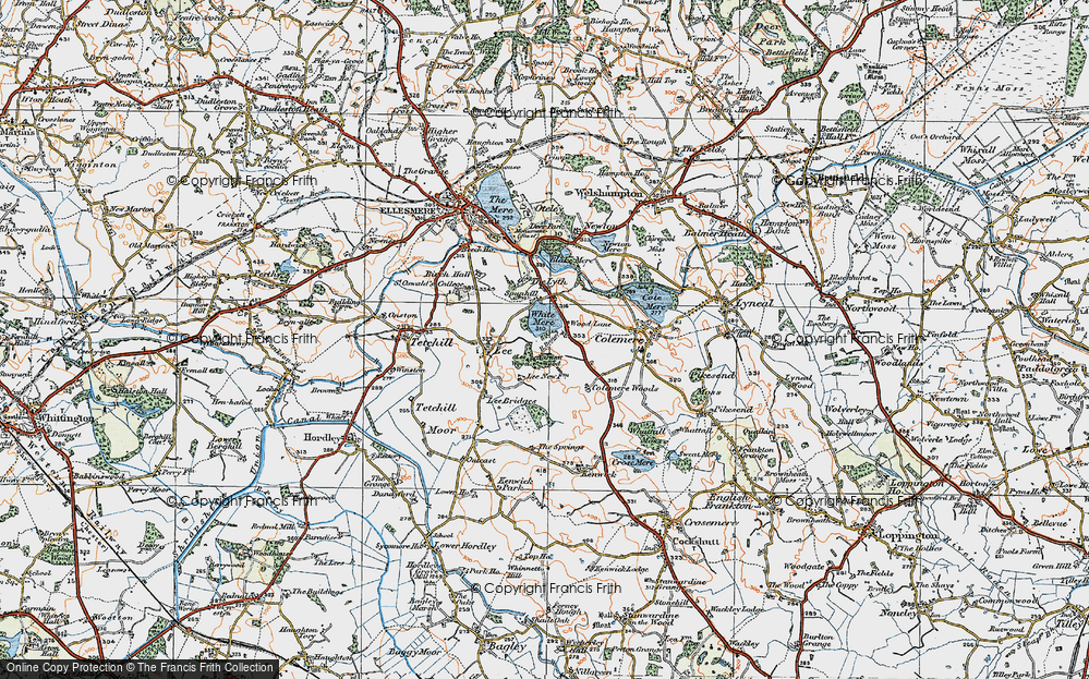 Old Map of Wood Lane, 1921 in 1921