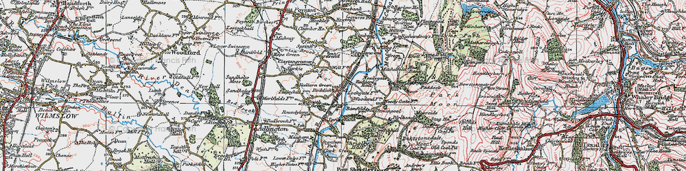 Old map of Wood Lanes in 1923