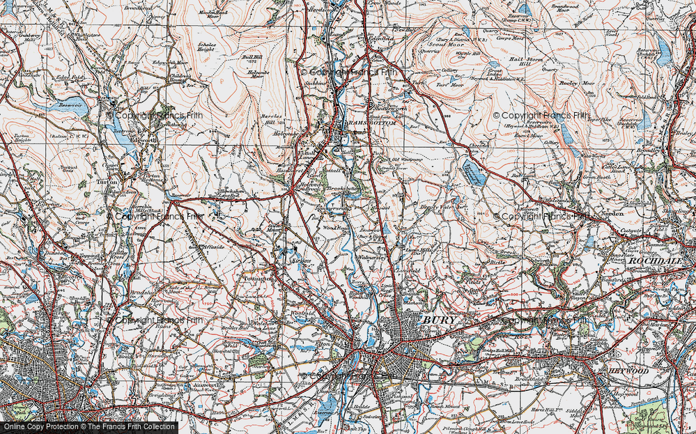 Old Map of Wood Road, 1924 in 1924