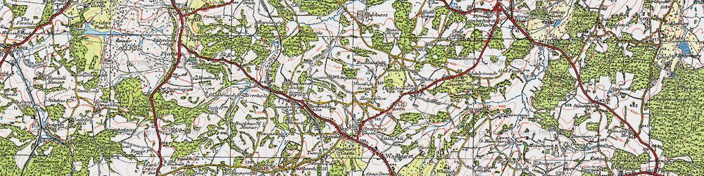 Old map of Wood's Green in 1920