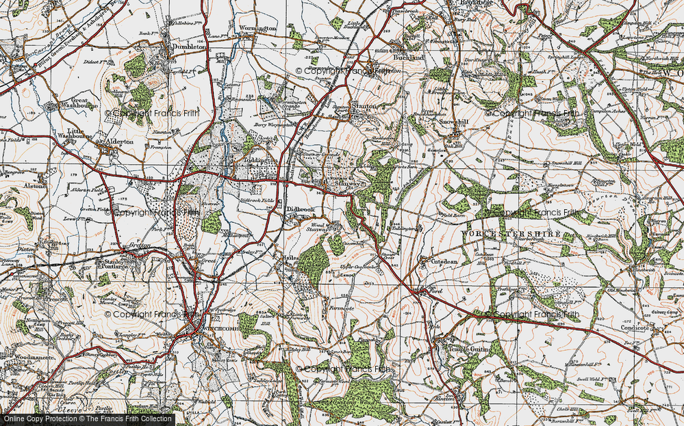 Old Map of Wood Stanway, 1919 in 1919