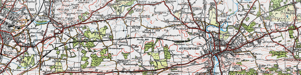 Old map of Wood Street Village in 1920