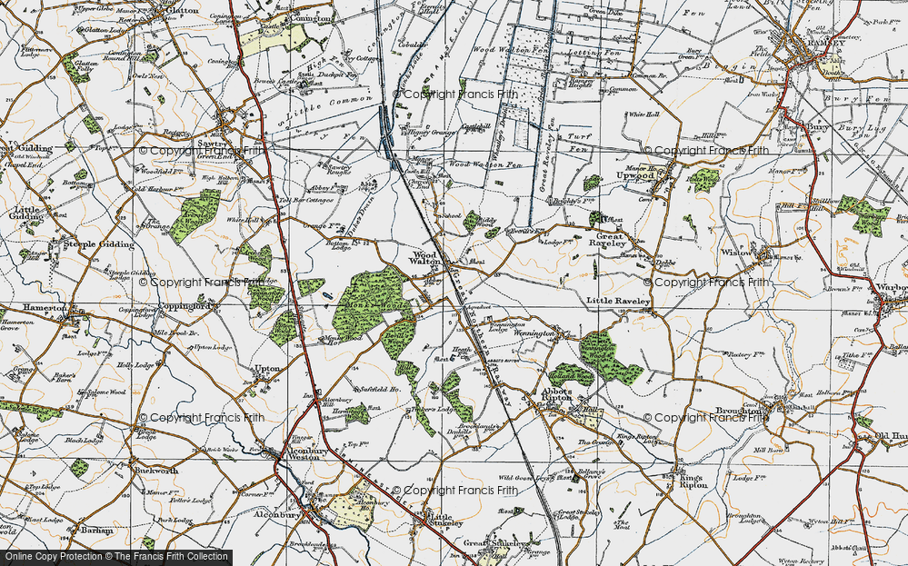 Old Map of Wood Walton, 1920 in 1920
