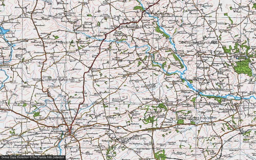 Old Map of Woodacott, 1919 in 1919