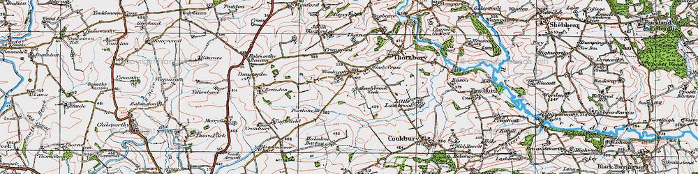 Old map of Woodacott Cross in 1919