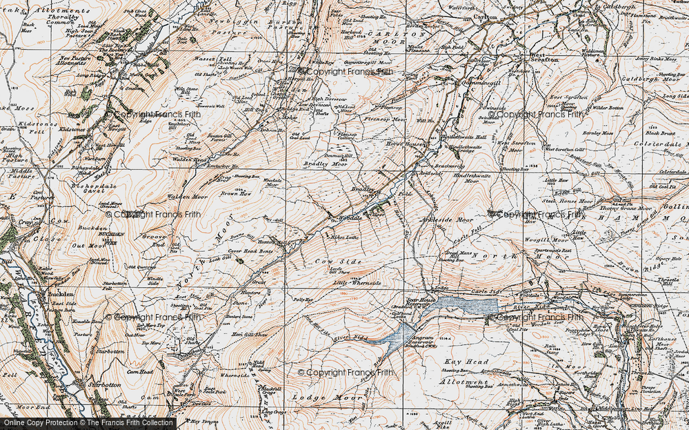 Old Map of Historic Map covering Woodale Moor in 1925