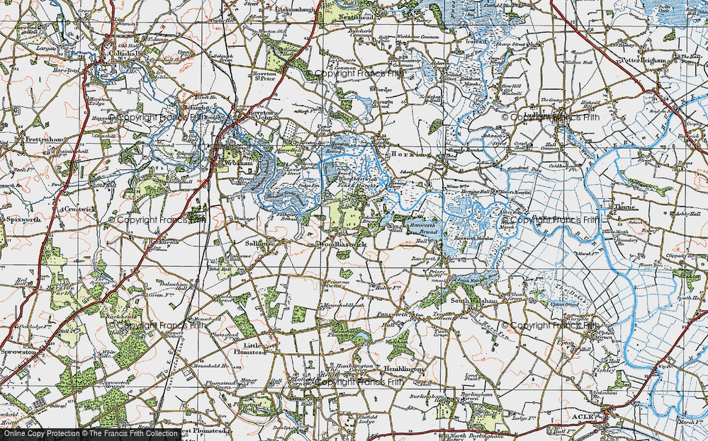 Old Map of Woodbastwick, 1922 in 1922