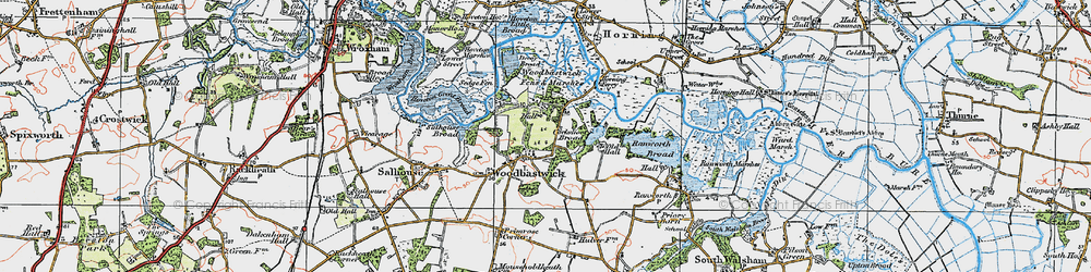 Old map of Woodbastwick Fens & Marshes in 1922