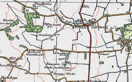 Old map of Woodbeck in 1923