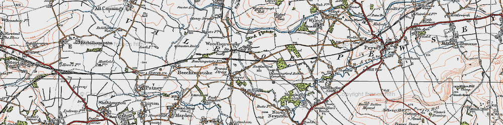 Old map of Woodborough in 1919
