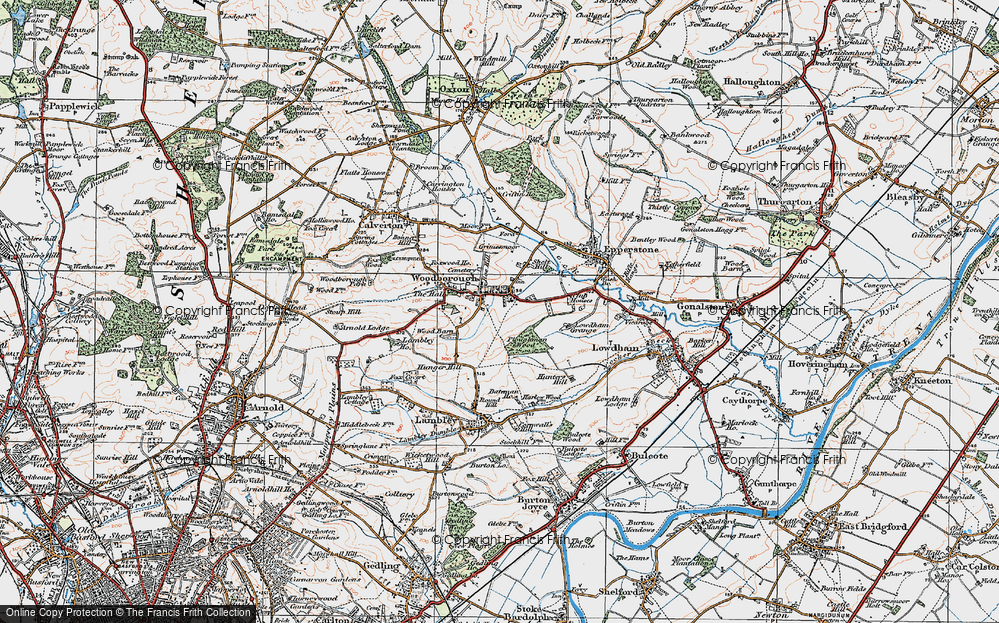 Old Map of Historic Map covering Woodborough Park in 1921