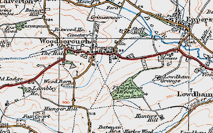 Old map of Woodborough in 1921