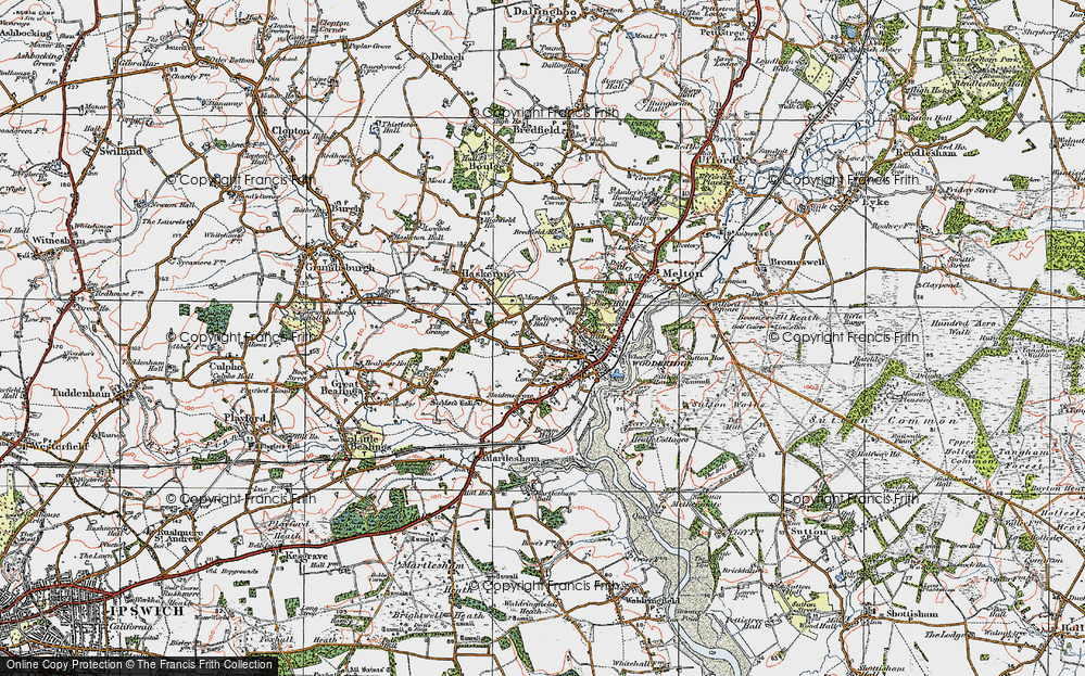 Old Map of Woodbridge, 1921 in 1921